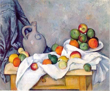 Занавес, кувшин и ваза для фруктов, Поль Сезанна