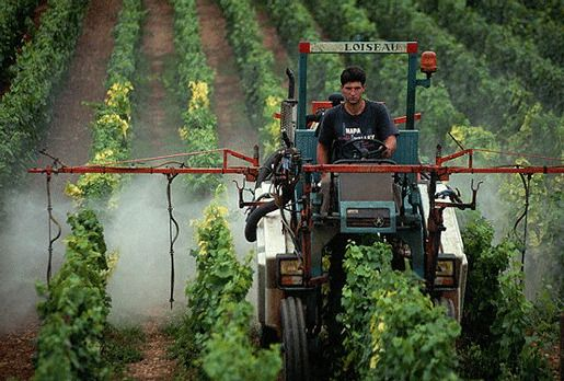 Фермер распыляет пестициды