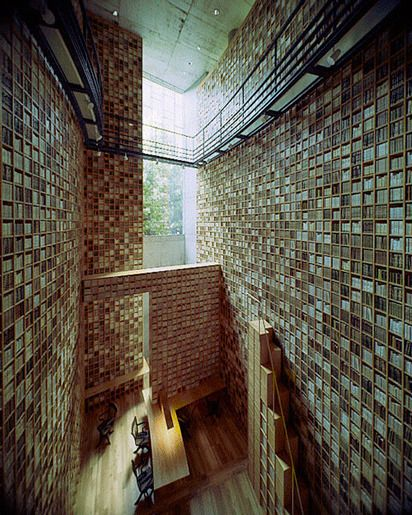 Библиотека в Мемориальном музее Шиба Рьятаро, спроектированная Тадао Андо, Осака, Япония