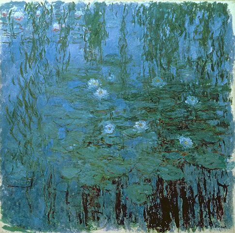 Моне Голубые водяные лилии